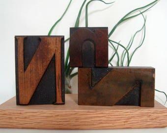 Wood Letter N Letterpress 3 Print Blocks Vintage Type Freestanding NNN