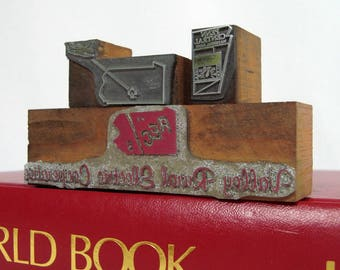 Letterpress Logos 3 Pennsylvania Bank, Electric Coop, Airport Metal on Wood Harrisburg PA