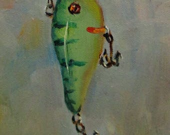 Fishing Lure original 5x7 daily oil painting Art by Delilah