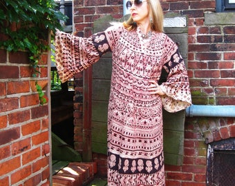 vintage 70s Indian cotton maxi dress bell sleeves ethnic block print goddess hippie festival Summer Fall