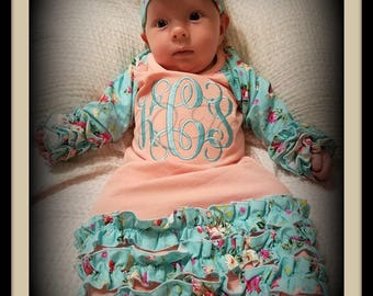 Personalized, baby gown, baby girl gown, Monogram, Newborn, Baby girl, coming home outfit, take home outfit, Baby girl clothes, Peach, Aqua