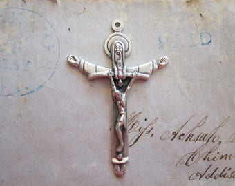 crucifix charm - HOLY TRINITY CRUCIFIX pendant - 2 inches, silver finish cross charm, religious charm - God with Jesus on cross