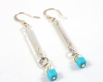 Pierced Dangle Earrings Silver Bar Hypoallergenic Wrapped Beads Crystals American Handmade Jewelry Statement Mid Century Modern Minimalist