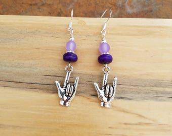 Purple I Love You Sign Earrings, Purple I Love You Sterling Silver Dangle Earrings, Silver I Love You Sterling Silver Earrings
