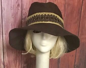 Brown Cotton Twill Sun Hat, Wide Brim Hat, Floppy Hat, Bohemian Hat, Festival Hat, Travel Hat, Packable Travel Hat, Floppy Sun Hat,