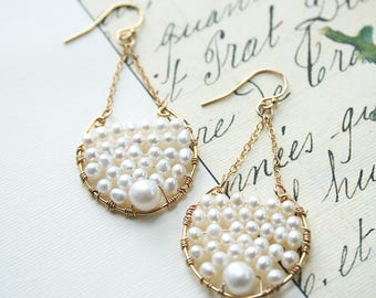 Pearl Earrings, Boho Wedding Jewelry, Bridal Earrings, Bohemian Wedding