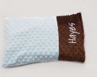 Toddler/Travel Size Pillowcase  - Create your own Personalized Minky Pillowcase - Baby blue and Brown