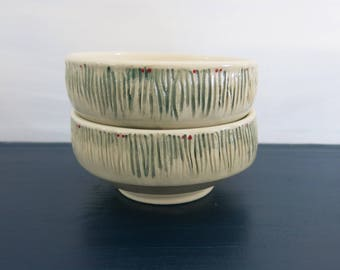 Handmade Ceramic Bowl, Desert Bowl, Soup Bowl White and Green Textured Limited Edition Gift Idea, Artisan Pottery by Licia Lucas Pfadt