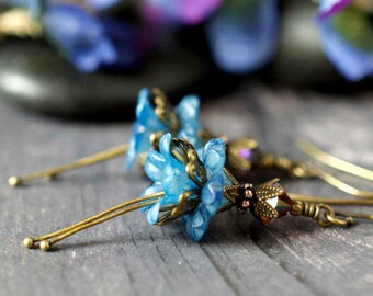 Frosted Blue Bell Flower Earrings Blue Earrings Bohemian Floral Fairy Earrings Purple Crystal Antique Brass Botanical Weddings Long Dangles