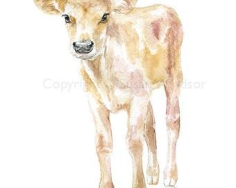 Jersey Cow Calf Watercolor Painting - 5 x 7 - Farmhouse Farm Animal - Nursery Wall Art Decor