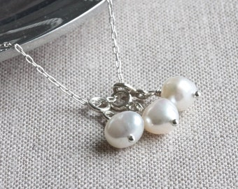 3 Floating Charm Necklace, Freshwater Pearl Necklace, Pearl Pendant Necklace, White Pearl Necklace, Trinity Necklace, Christian Jewelry