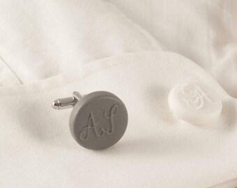 Personalized Round Initial Monogram Cufflinks , Engraved Letter Cuff Links White Porcelain Initial Custom  Cufflinks Wedding Groomsmen