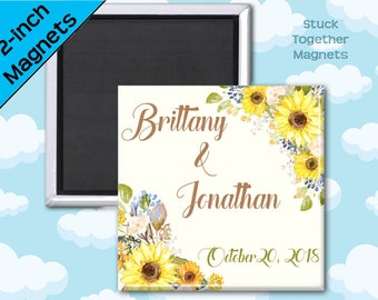Sunflower Wedding Favors - 2 Inch Square Magnets - Set of 10 Magnets