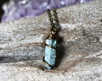 Aqua Aura Quartz Necklace - Blue Crystal Necklace - Aqua Aura Quartz Crystal Jewelry - Wicca Necklace - Boho Jewelry - Hippie Gypsy Jewelry