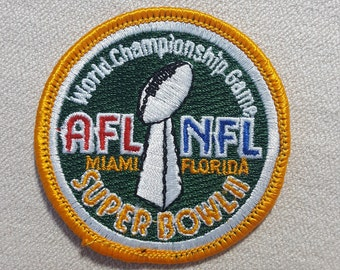 1968 NFL Super Bowl II Logo Patch- Oakland Raiders vs. Green Bay Packers Football Souvenir- Vintage Patch Sew-on Embroidered Applique