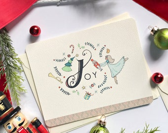 Nutcracker Christmas Greeting Card with Joy - Boxed Note Card Set - A2 Size