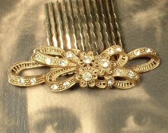 OOAK Antique Art Nouveau / Art Deco Vintage Wedding Paste Rhinestone Gold Bridal Hair Comb, Keepsake Filigree Hairpiece 1920s - 1930s Clip