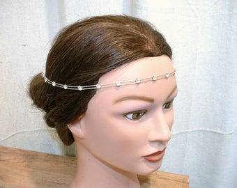 ANTIQUE Art Deco Bridal Forehead Band, 1920 Headband Hair Vine Chain Downton Gatsby Vintage Wedding Flapper Headpiece Rhinestone Halo 20s
