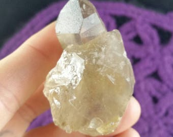 Citrine Natural Crystal Crystals Gemstones Quartz Stones Point Brazil Etched Twin crossed termination