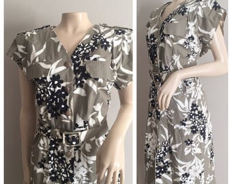 Grey Shirtdress with Black and White Floral Print // Gray, Black, White Dress, Carriage Court Sports