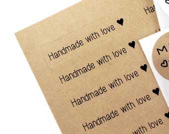 HANDMADE WITH LOVE stickers & heart - Kraft Brown handmade with love Labels - 1/2 x 1 3/4 made with love stickers