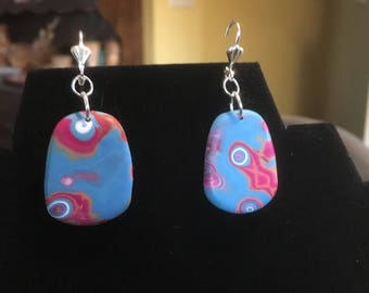Bright Abstract Earrings . Mokume Gane . Lever Back . Polymer Clay