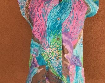 1960's - Hawaiian Cotton Sleeveless Aqua Shirt