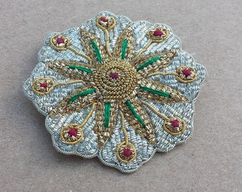Flower Designed Silver, Gold, Red, Green Fabric Back Vintage Brooch, Made in India