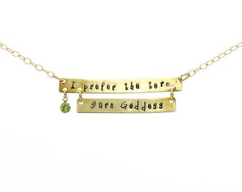 Knitting Quote, Quote Necklace, Yarn Goddess, Pendant Necklace, Quote Pendant, Inspiration Jewelry, Brass Pendant, Swarovski Crystal Charm