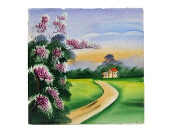 Lovely Vintage Hand Painted Art Pottery Tile Lilacs Country Cottage House Blue Sky Cottage Chic