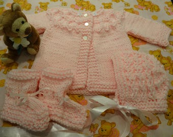 4 PIECE PINK LAYETTE Set, Sweater, hat, booties, 3 buttons,  size 6 to9 months, hand knitted acrylic worsted weight yarn
