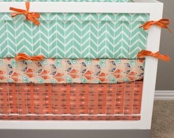 Crib Bedding Fox, Baby Bedding, HerringboneArrow Tribal Southwest Teal Mint Orange Navy Nursery, Fox Crib Set, Baby Boy Crib