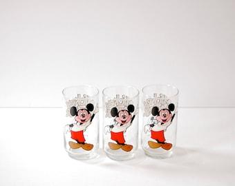 Vintage Mickey Mouse Glass Set - Set of Three Vintage Disney Glasses - 1970s Walt Disney Memorabilia - Glassware Set - Barware Set Disney