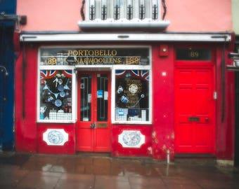 London Photograph, Portobello Road, Antiques, England, UK art, Window Shopping, Travel Photography, Red Wall Art, Anglophile, British, Print