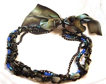 Necklace Semi Precious Sapphire Grey Blue Green Silk Ribbon Black Curb Chain