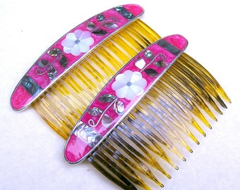 2 vintage Mexican hair combs matched pair abalone mother of pearl hair accessory decorative comb hair ornament (AAA)