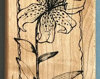 New Tropical Tiger Lily Flower Wood Mounted Rubber Hampton Art Stamps