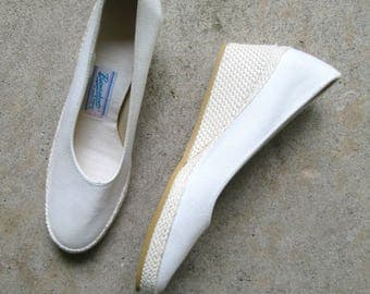 White Canvas Espadrilles Wedge Browsabouts Size 6.5 N New Vintage Deadstock Shoes