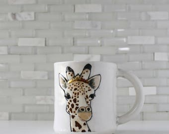 Giraffe Mug | animal lover coffee mug teacup | original giraffe design with real 22k gold tiara | animal art | in stock