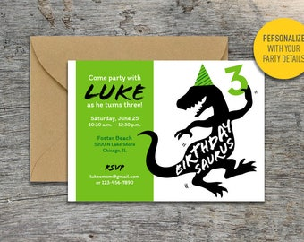 Printable Dancing Dino Child's Birthday Party Invitation