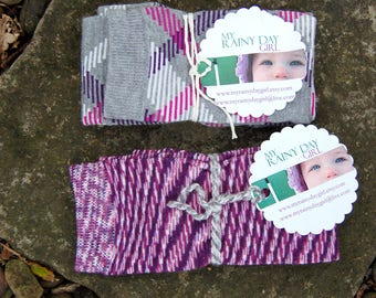 Sale - 2 Pairs - Purple Fall Collection Leg Warmers  - Striped Leg Warmers for Little Girl and Boy - Unisex Leg Warmers - Newborn - Toddler
