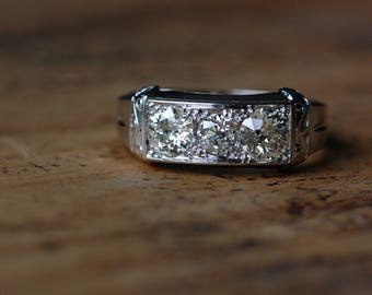 Vintage Art Deco triple diamond C.D. Peacock engagement ring in original box