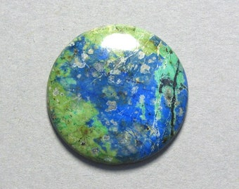 blue green AZURITE round cabochon 30mm disc designer cab