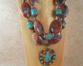 Chunky Western Cowgirl Statement Necklace Set - Brown Banded Agate and Turquoise Variscite - Crystal Horseshoe Pendant
