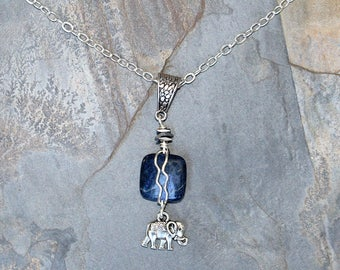 Elephant Necklace, Blue Necklace, Natural Stone Necklace, Sodalite Necklace, Blue Elephant Necklace, Wire Wrapped Necklace, For Her
