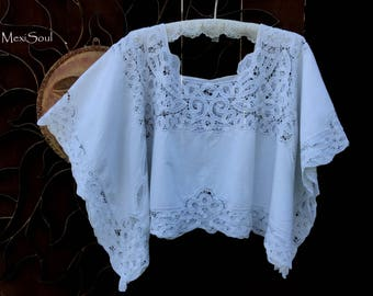 Mexican Huipil Blouse, OOAK Design, Frida Style Huipil, Huipil Bridal, Recycled/Upcycled Designer