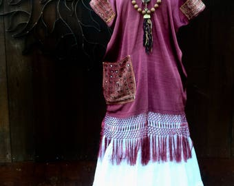 Tribal Huipil Tunic, OOAK Design, Bohemian Tunic, Art To Wear Tunic Dress