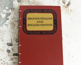 1953 SPANISH ENGLISH Vintage Dictionary Notebook
