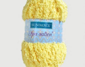 Yellow Yarn Sundance Spa Sation Chenille Like Bulky Crochet Knit Soft Fuzzy Cozy Great for Baby Projects