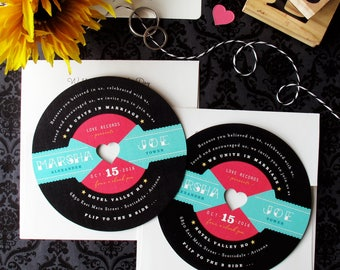 Record Wedding Invitation - 1950s Retro Rockabilly Inspired LP Diecut Invitation for Wedding Ceremony and/or Wedding Reception Special Event